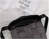Сумка клатч жіноча стильна плетені модна. Сумочка трендова з плетінням (рожева), фото 7
