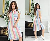 Женское льняное платье-рубашка под пояс с разрезами ниже колен 44, 46, 48, 50, 52