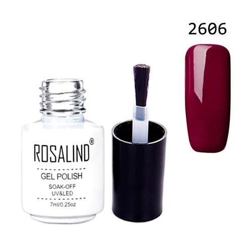 Гель-лак для ногтей маникюра 7мл Rosalind, шеллак, 2606 бордовый
