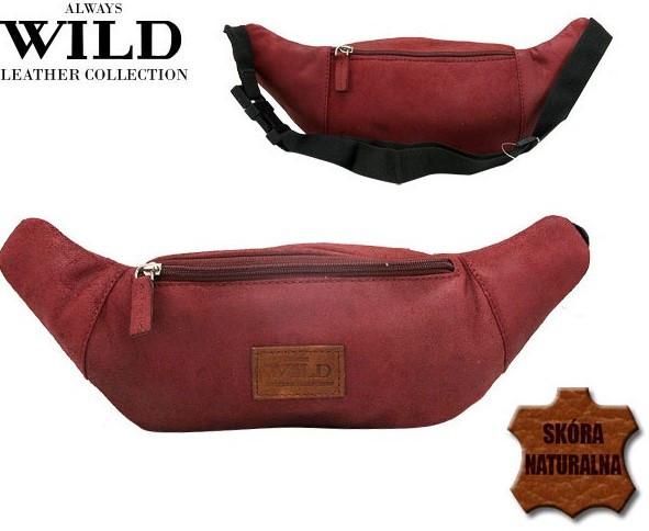 Кожаная сумка на пояс  Always Wild WB-01-18562 красная