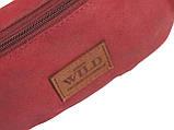 Кожаная сумка на пояс  Always Wild WB-01-18562 красная, фото 7