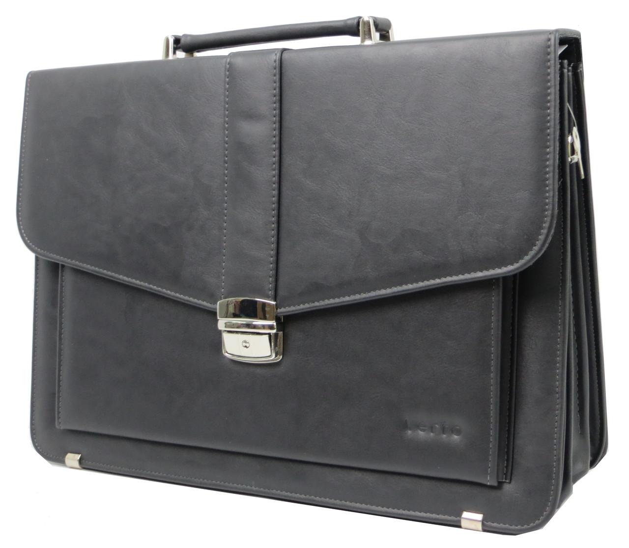 Портфель деловой из эко кожи Verto A13A1 серый