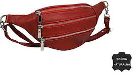Жіноча шкіряна поясна сумка, бананка Always Wild KS04D червоний