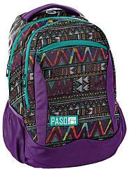 Рюкзак міський жіночий з орнаментом PASO 22L, 18-2808CP фіолетовий