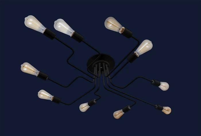 Люстра в стиле LOFT на 10 ламп L56PR0230-10 BK