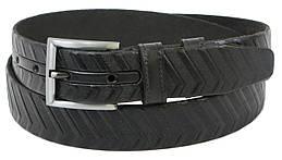 Мужской кожаный ремень под брюки Skipper 1259-35 черный 3,5 см