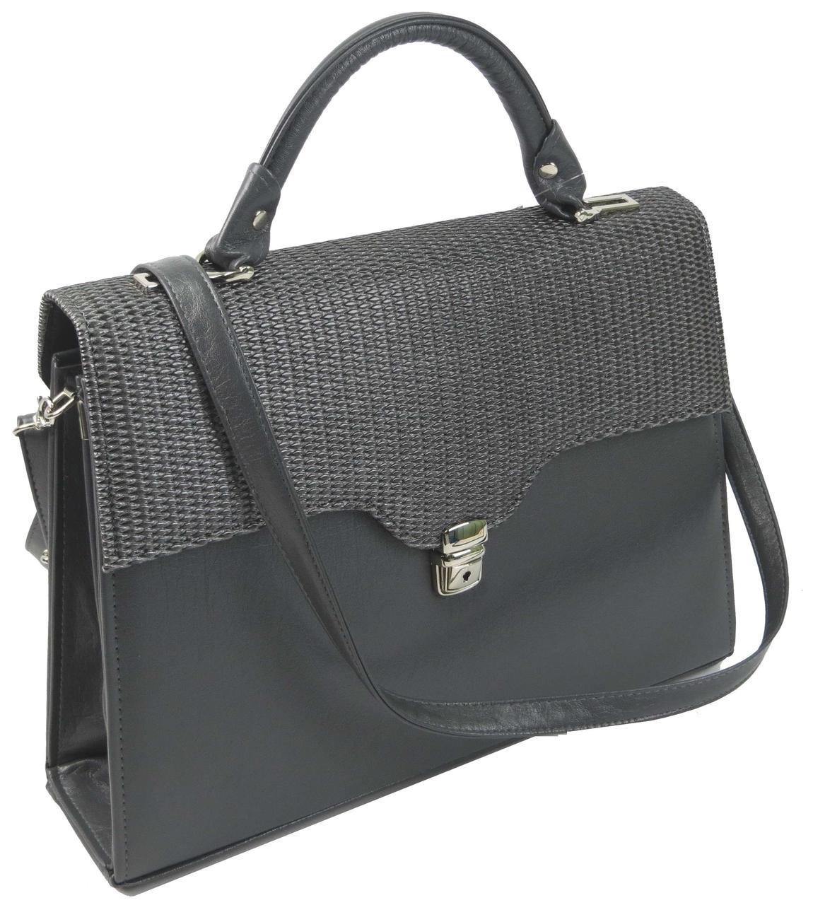 Женская деловая сумка-портфель из эко кожи Arwena серая