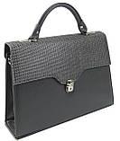 Женская деловая сумка-портфель из эко кожи Arwena серая, фото 3