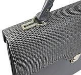 Женская деловая сумка-портфель из эко кожи Arwena серая, фото 8