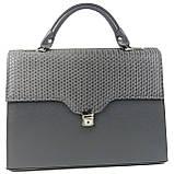Женская деловая сумка-портфель из эко кожи Arwena серая, фото 9