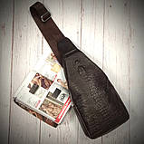 Мужская сумка на одно плечо, слинг Alligator. Коричневая / 2799-1, фото 3