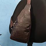 Мужская сумка на одно плечо, слинг Alligator. Коричневая / 2799-1, фото 5
