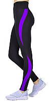 Утягивающе лосины с высокой посадка, спортивные леггинсы для фитнеса Valeri 1231 черные с фиолетовой вставкой