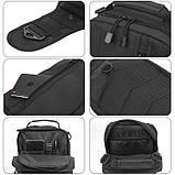 Черная тактическая сумка-рюкзак, барсетка на одной лямке + USB выход. T0445, фото 4