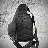 Черная тактическая сумка-рюкзак, барсетка на одной лямке + USB выход. T0445, фото 8