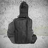 Черная тактическая сумка-рюкзак, барсетка на одной лямке + USB выход. T0445, фото 10