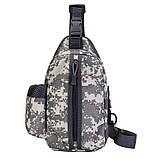 Тактическая сумка-рюкзак, барсетка, бананка на одной лямке, пиксель. T-Bag 448, фото 2