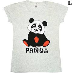Размер L на 48й Футболка Женская Серого Цвета с Принтом и Надписью Panda, Летние Футболки, Модные Футболки.