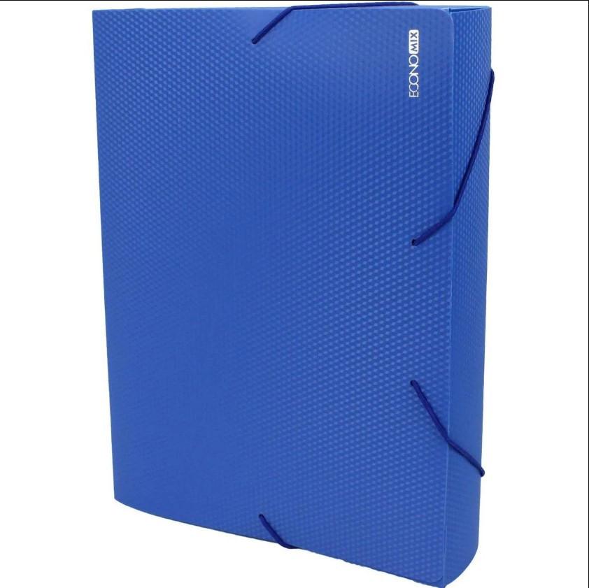 Папка-бокс пластиковая А4 60мм на резинках, синяя ECONOMIX