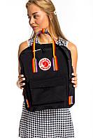 Рюкзак стильный канкен Fjallraven Kanken Rainbow 16л черный с разноцветными ручками