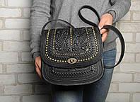 """Авторская кожаная сумка """"Дубок"""" ручной работы, большая чёрная сумка из натуральної кожи с металлом, фото 1"""