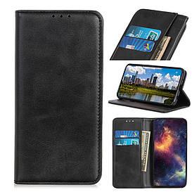 Чехол книжка для Samsung Galaxy S10 Lite боковой с отсеком для визиток, Натуральная кожа, черный