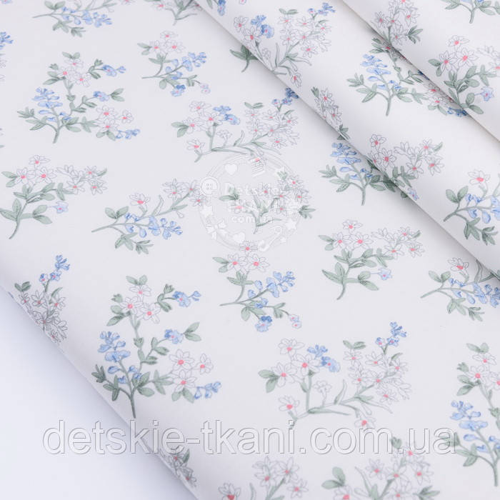 """Сатин ткань """"Веточки с белыми и голубыми цветочками"""" на белом, №2771с"""