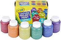 Краски с блеском крайола в баночках (59 мл) Washable Kids Paint, в наборе 6 цветов, Crayola