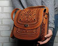 """Авторская кожаная сумка """"Дубок"""" ручной работы, большая рыжая сумка из натуральної кожи, фото 1"""