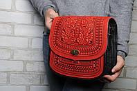 """Женская кожаная сумка """"Дубок"""" ручной работы, большая красная сумка из натуральної кожи, фото 1"""