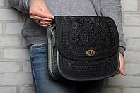 """Авторская кожаная сумка """"Дубок"""" ручной работы, большая чёрно-серая сумка из натуральної кожи, фото 1"""