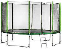 Батут Atleto 404 см с двойными ногами с сеткой зеленый