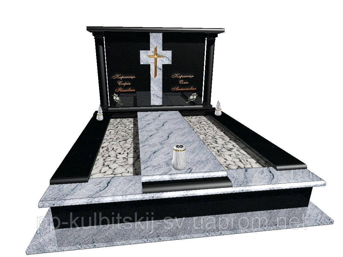 Елітний пам'ятник подвійний  з білого і чорного граніту N7110