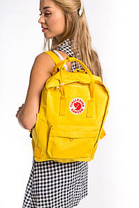 Рюкзак женский стильный канкен Fjallraven Kanken Classic 16л желтый