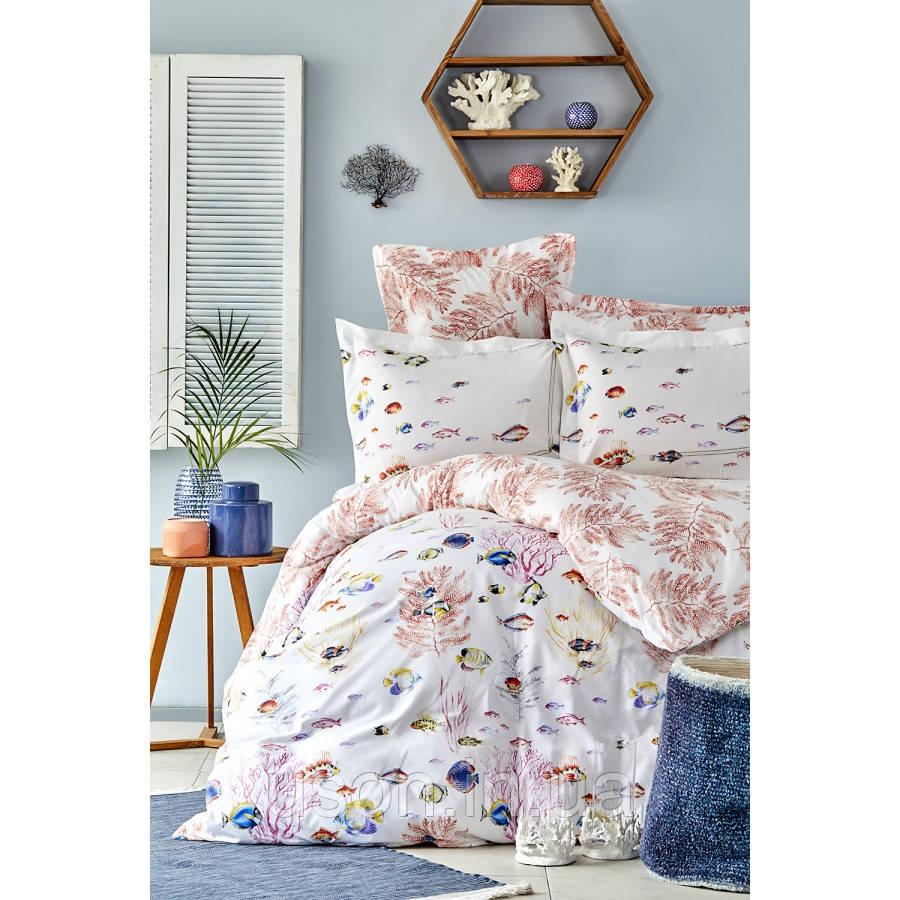 Комплект постельного белья с покрывалом Pike TM Karaca Home Coral mercan