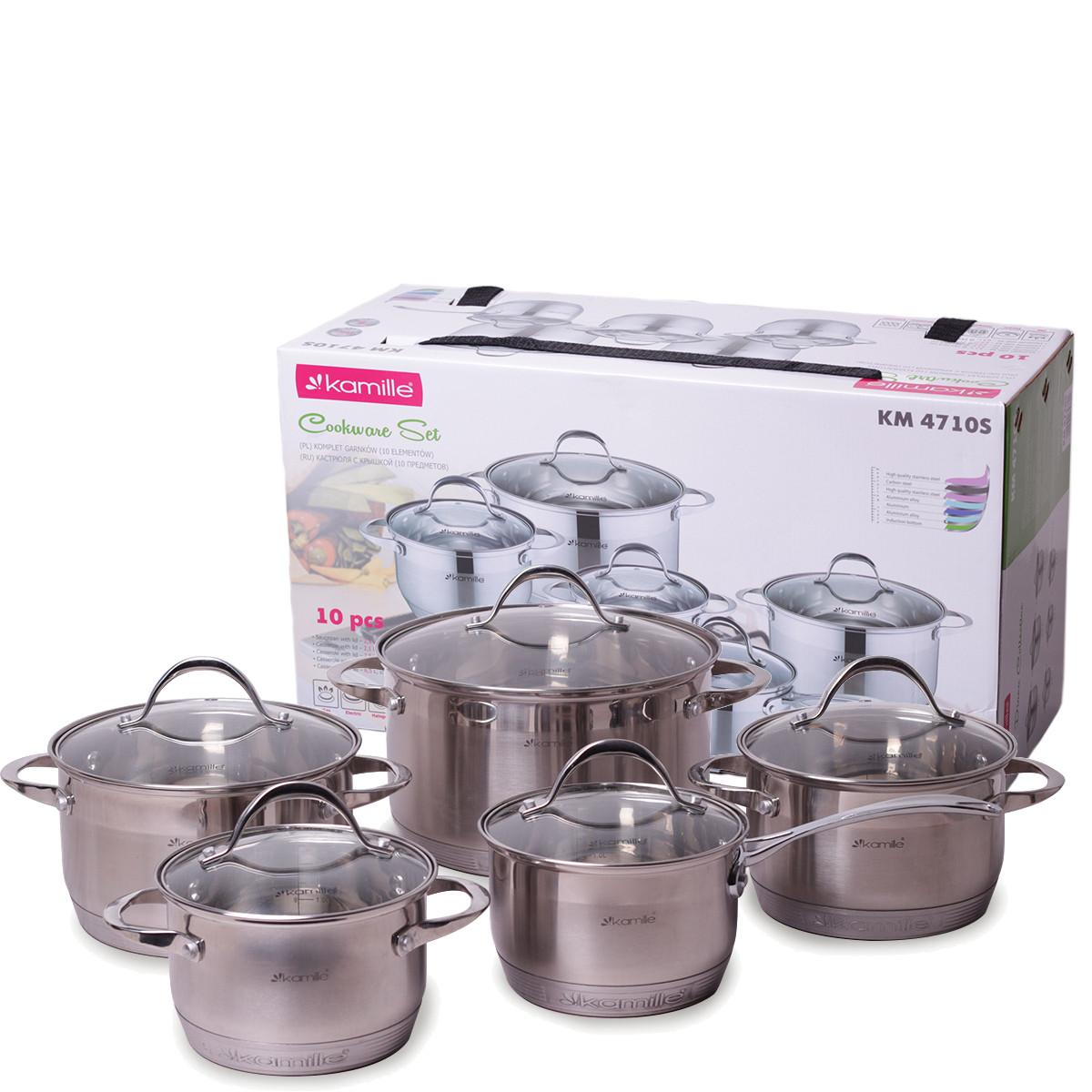 Набор посуды Kamille из нержавеющей стали 10 предметов (1.8л, 2.3л, 3.3л, 5.5л) KM-4710S