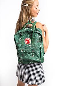 Рюкзак городской стильный канкен Fjallraven Kanken Art 16л зеленый с енотами