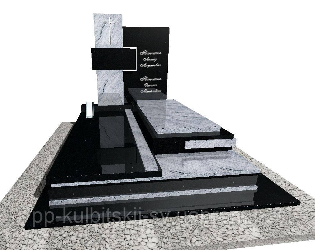 Ексклюзивний подвійний пам'ятник з білого і чорного граніту N3713/б