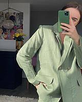 Женский льняной пиджак с мужского плеча и брюки свободного кроя . Цвет и размер в ассортименте 40-72+, фото 1