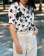 Женская футболка с принтом Микки и паетками бренд Турция ассортимент чёрная и белая