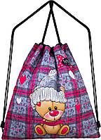 Детский рюкзак сумка для сменной обуви серый мешок на шнурках школьный для девочки Winner One M-35