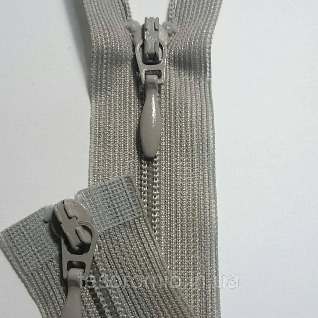 Молния спиральная разъёмная, тип 3, длина 50 см, два бегунка, цвет серый