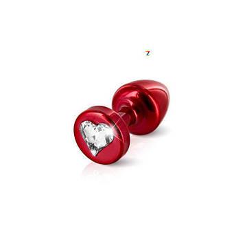 Анальная пробка со стразом Diogol Anni R Heart Red Кристалл 25мм
