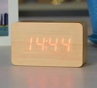 Годинник електронний настільний 1294 під дерево (червоне підсвічування), фото 1