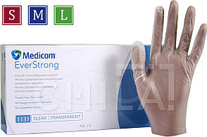 Перчатки виниловые неопудренные S,M,L (100 шт/уп) Медиком SafeTouch® EverStrong