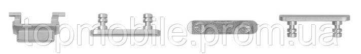 Комплект боковых кнопок корпуса для iPhone 7, серебристый, полный комплект