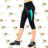 Женские спортивные бриджи черный со вставками бирюза, фото 2