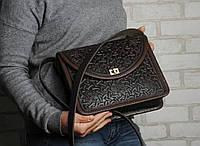 """Эксклюзивная коричневая женская сумочка через плечо, тисненый авторский узор """"Роксолана"""", фото 1"""