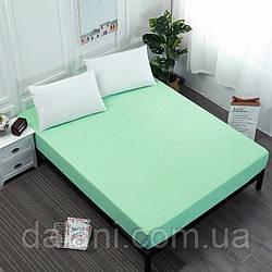 Простынь светло-зелёная на резинке из сатина (100% хлопок) 160*200*20