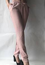 Летние брюки из льна жатки №23 БАТАЛ розовый, фото 3